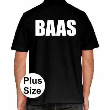 Zwart plus size baas polo t shirt heren