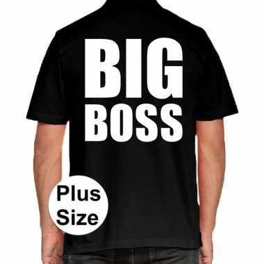 Zwart plus size big boss polo t shirt heren