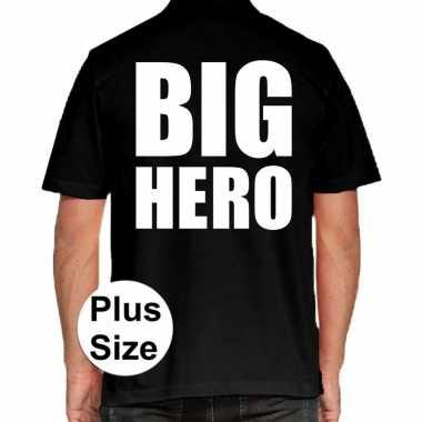 Zwart plus size big hero polo t shirt heren