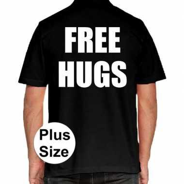 Zwart plus size free hugs polo t shirt heren
