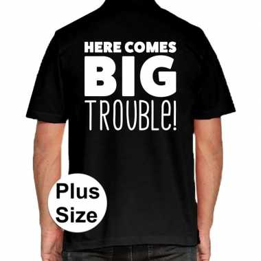 Zwart plus size here comes big trouble polo t shirt heren