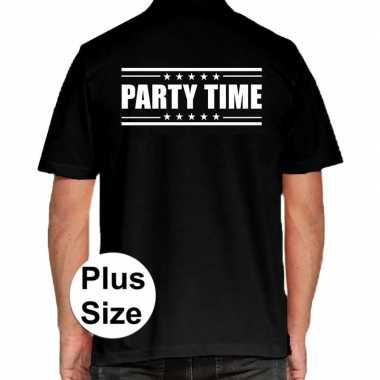 Zwart plus size party time polo t shirt heren