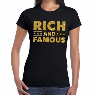 Zwart rich and famous goud fun t shirt dames