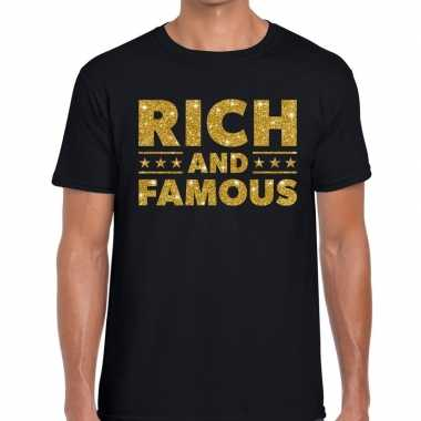 Zwart rich and famous goud fun t shirt heren