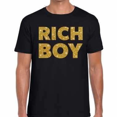 Zwart rich boy goud fun t shirt heren