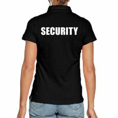 Zwart security polo t shirt dames