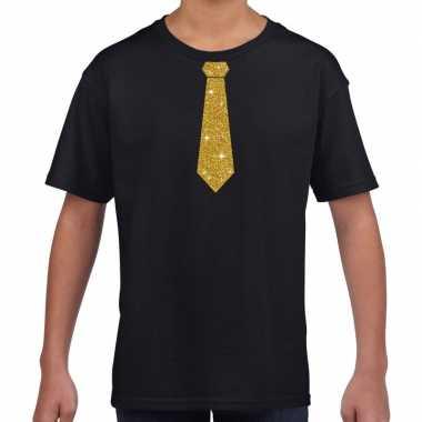 Zwart t shirt gouden stropdas kinderen