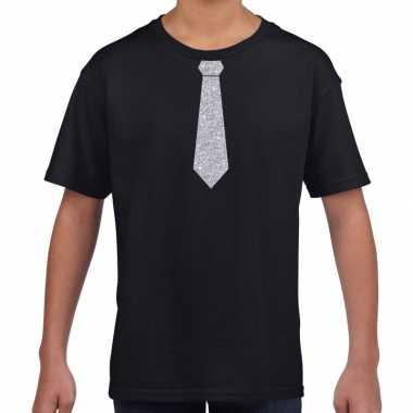 Zwart t shirt zilveren stropdas kinderen