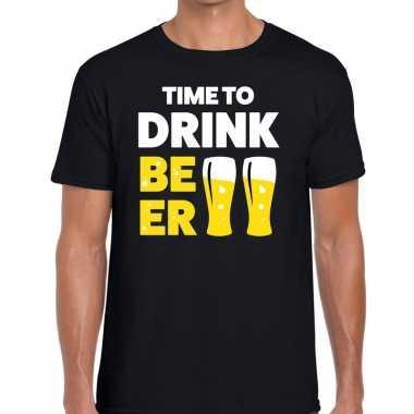 Zwart time to drink beer fun t shirt heren