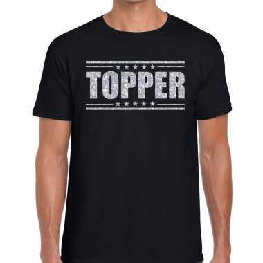 Zwart topper shirt zilveren glitter letters heren
