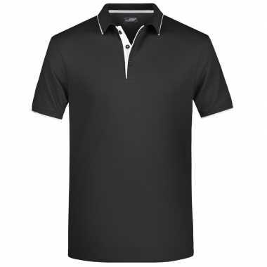 Zwart/wit premium poloshirt golf pro heren