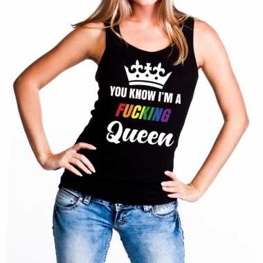 Zwart you know i am a fucking queen tanktop / mouwloos shirt dames