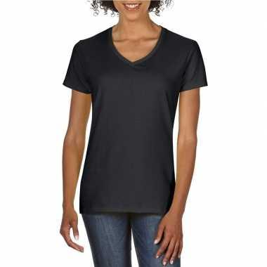 Zwarte dames casual t shirts v hals