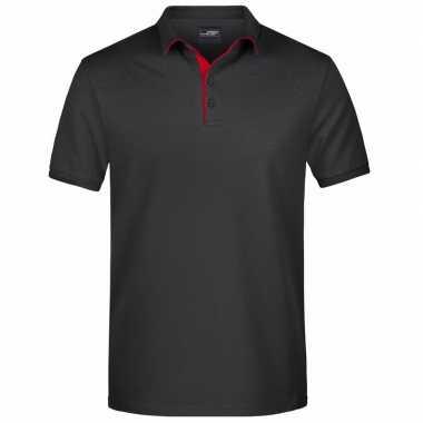 Zwarte premium poloshirt golf pro heren