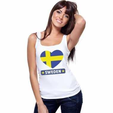 Zweden hart vlag mouwloos shirt wit dames