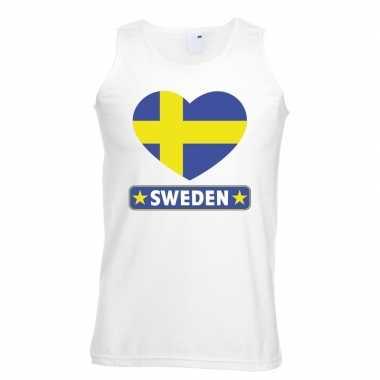 Zweden hart vlag mouwloos shirt wit heren