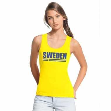 Zweden supporter mouwloos shirt/ tanktop geel dames