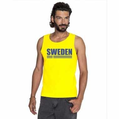 Zweden supporter mouwloos shirt/ tanktop geel heren