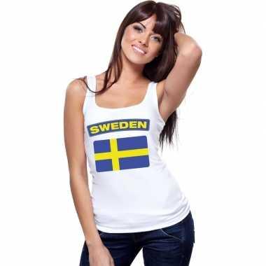 Zweden vlag mouwloos shirt wit dames