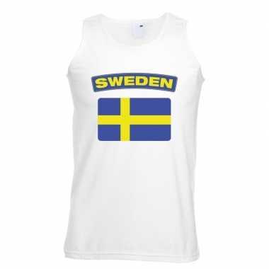 Zweden vlag mouwloos shirt wit heren