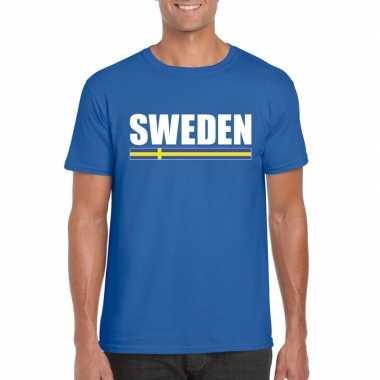 Zweedse supporter t shirt blauw heren