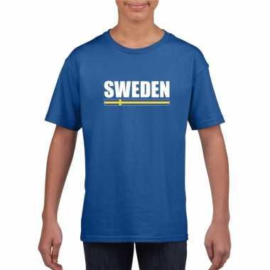 Zweedse supporter t shirt blauw kinderen