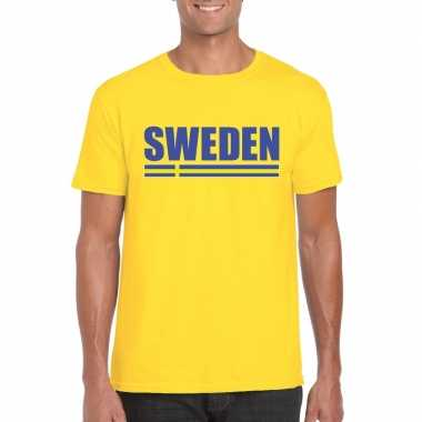 Zweedse supporter t shirt geel heren