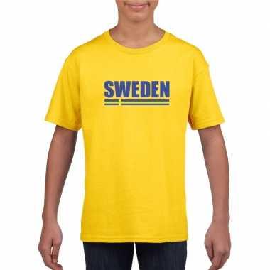 Zweedse supporter t shirt geel kinderen