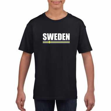 Zweedse supporter t shirt zwart kinderen
