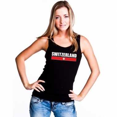Zwitserland supporter mouwloos shirt/ tanktop zwart dames