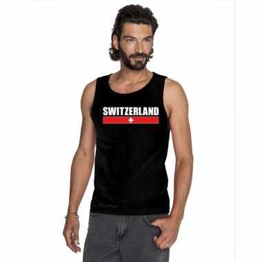 Zwitserland supporter mouwloos shirt/ tanktop zwart heren