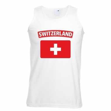 Zwitserland vlag mouwloos shirt wit heren