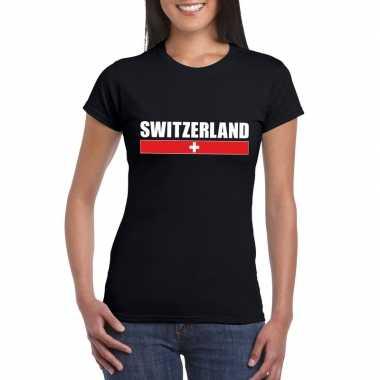 Zwitserse supporter t shirt zwart dames
