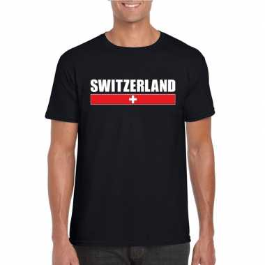 Zwitserse supporter t shirt zwart heren