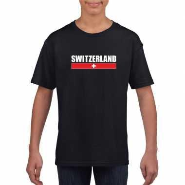 Zwitserse supporter t shirt zwart kinderen