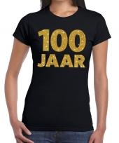 100e verjaardag cadeau t-shirt zwart goud dames