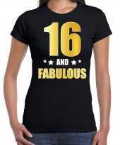 16 and fabulous verjaardag cadeau shirt kleding 16 jaar zwart goud dames
