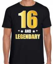 16 and legendary verjaardag cadeau shirt kleding 16 jaar zwart goud heren