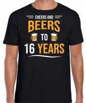 16 jaar cadeau shirt cheers and beers zwart heren