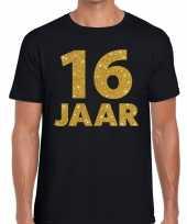 16 jaar gouden letters fun t-shirt zwart heren