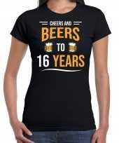 16e verjaardag kado shirt cheers and beers zwart dames