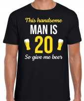 20 jaar verjaardag shirt zwart heren handsome man 20 give beer cadeau t-shirt