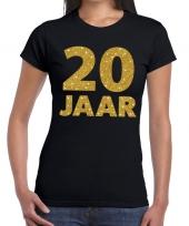 20e verjaardag cadeau t-shirt zwart goud dames