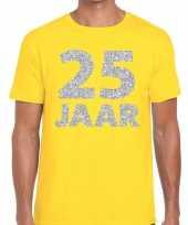 25e verjaardag cadeau shirt geel zilver heren
