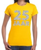 25e verjaardag cadeau t-shirt geel zilver dames