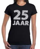 25e verjaardag cadeau t-shirt zwart zilver dames