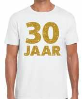 30e verjaardag cadeau t-shirt wit goud heren