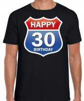 30e verjaardag happy birthday shirt kleding route bord 30 jaar zwart heren