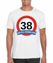 38 jaar verkeersbord t-shirt wit heren