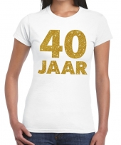 40e verjaardag cadeau t-shirt wit goud dames